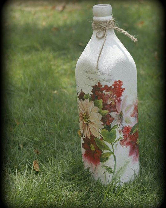 Decoupage on Glass Bottles – Chennai