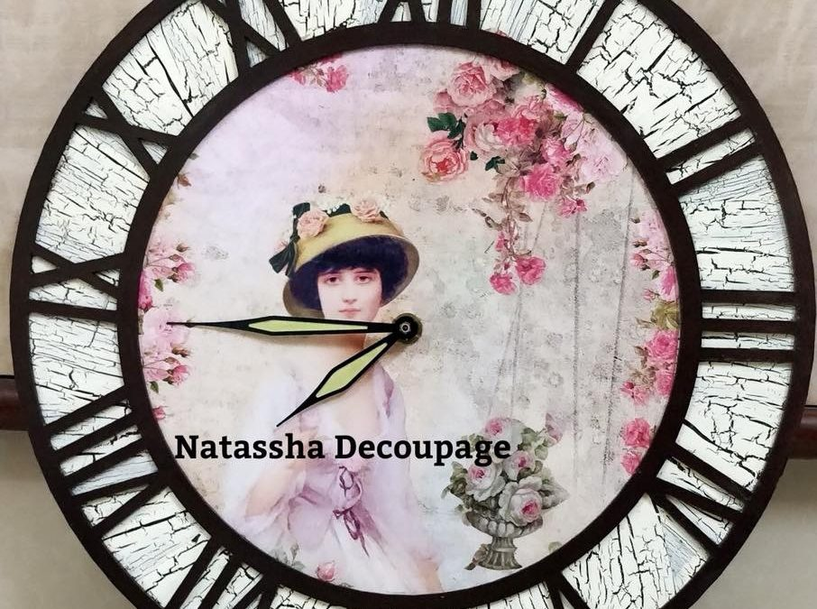Vintage wall clock –  Decoupage workshop for beginners