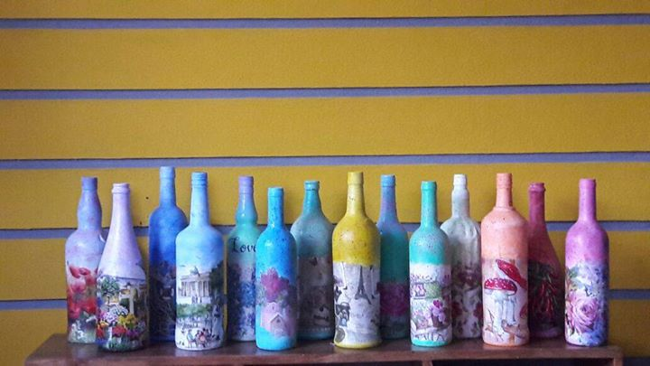 Decoupage Bottle Art Workshop in Bangalore