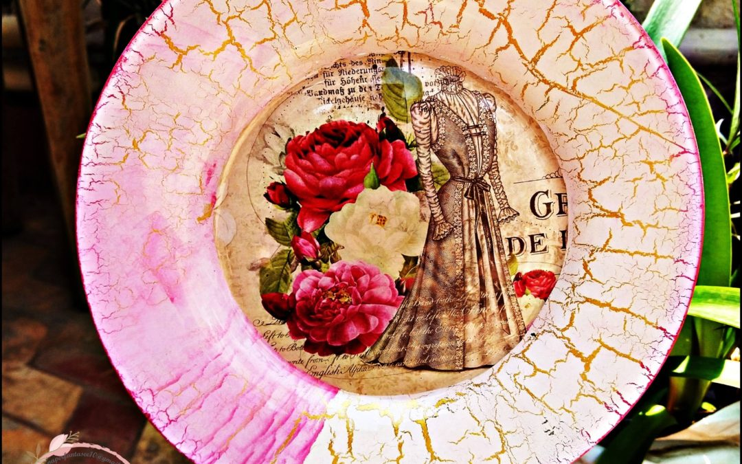Reverse Decoupage and Crackle Effect on a Plate (Weekday workshop)