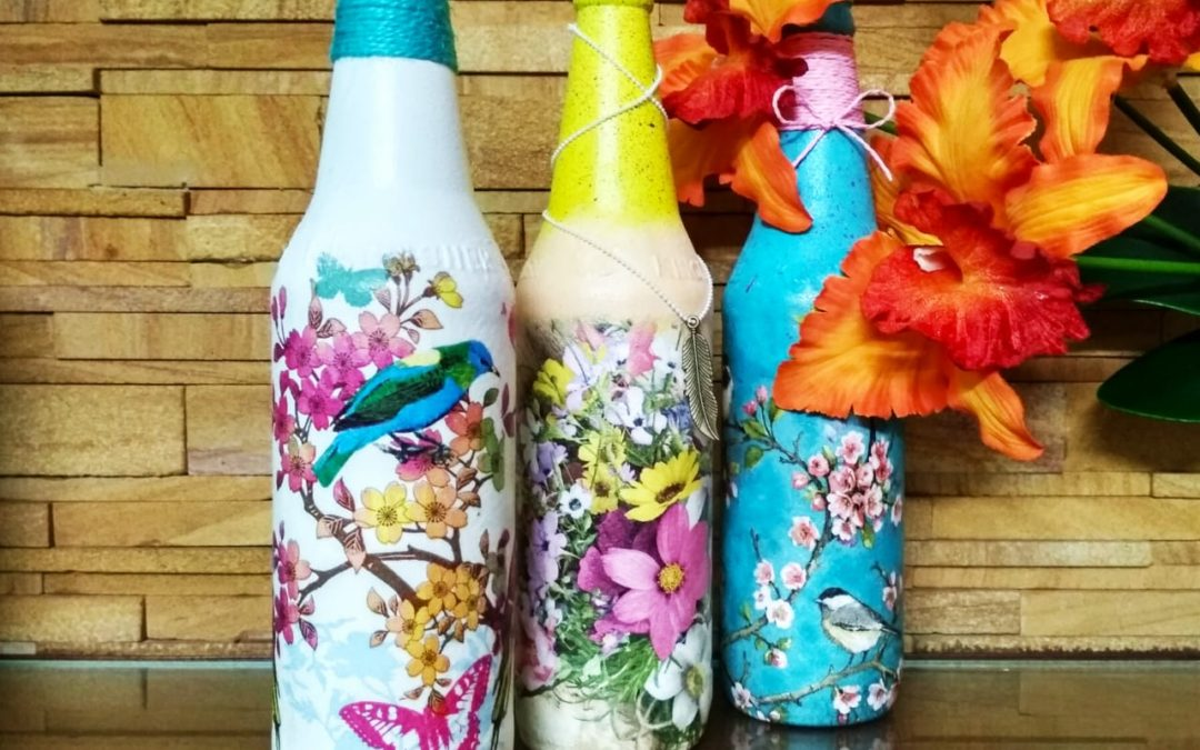 Decoupage Bottle Art Workshop in Bangalore – Beginner workshop