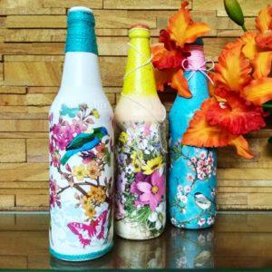 Decoupage Bottle Art
