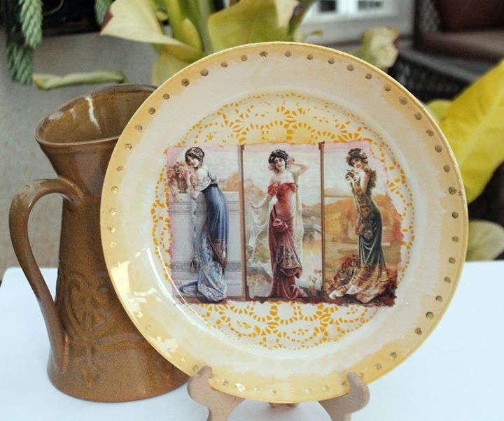 Reverse Decoupage on a Plate workshop in Bangalore