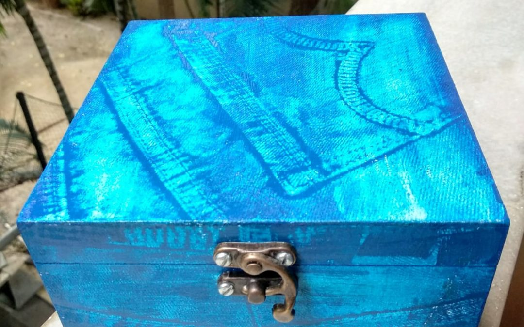 Faux Denim look on Wooden Box
