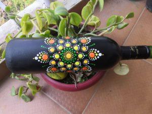 dot mandala, bottle art