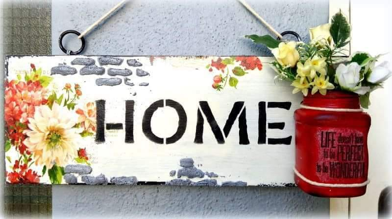 Mixed Media – Decoupaged Distressed Name Plate (Chennai weekday workshop)