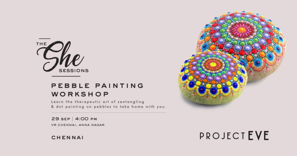 Dot painting on pebbles workshop in bangalore