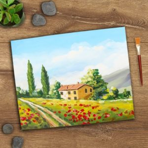 Dimensional Tuscan Landscape Painting