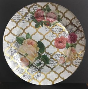 Decoupage Glass plate with Stamping