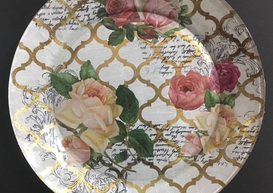 Decoupage Glass plate with Stamping – Beginners workshop