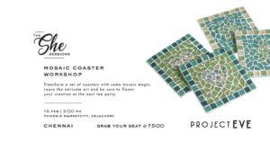 Chennai event, mosaic coasters