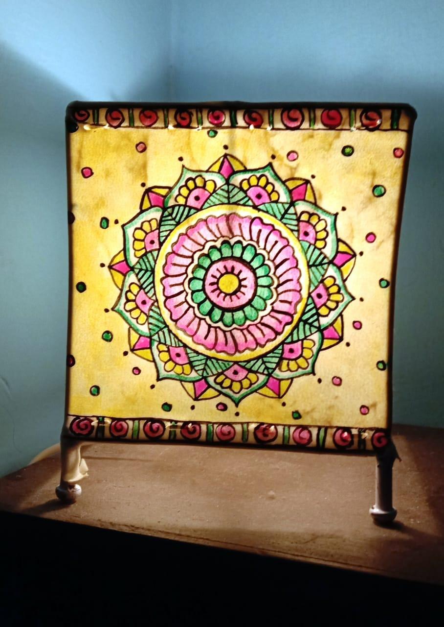 Mandala leather lampshades