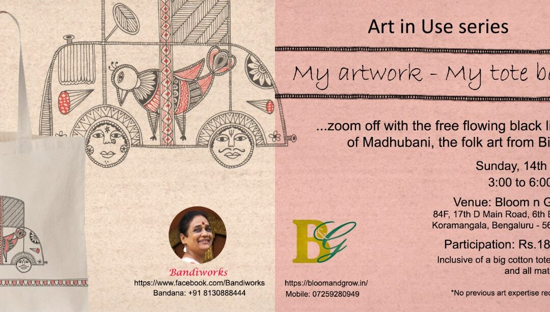 Madhubani Art on totebag – Beginners' workshop in Bangalore