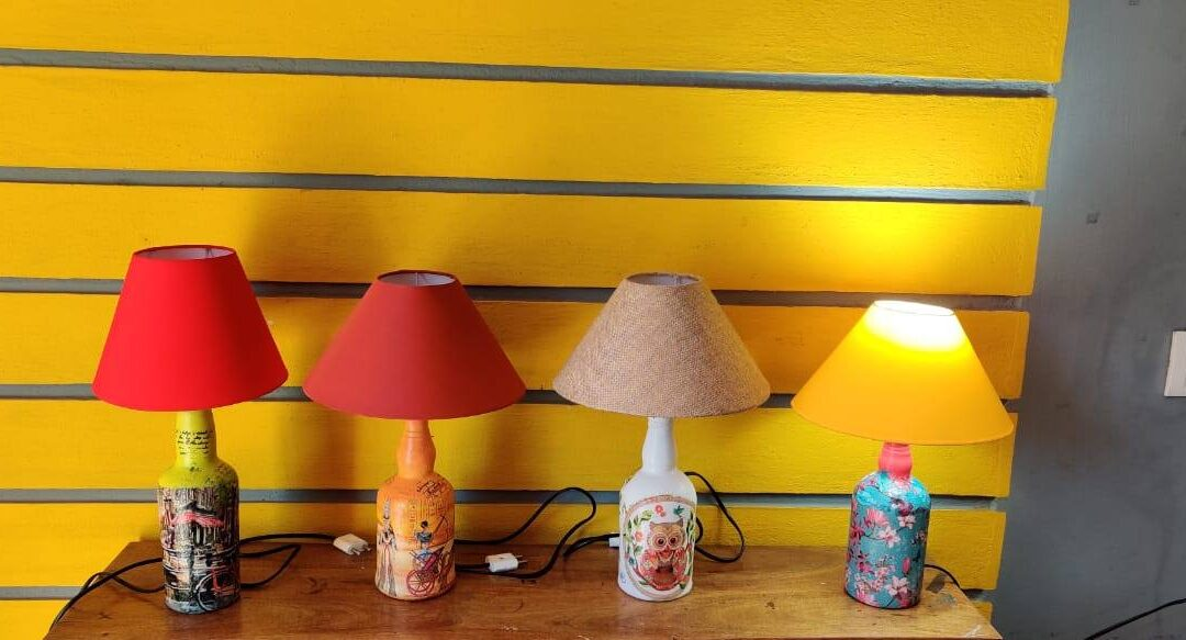 Decoupaged Bottle Lamp Making – Beginners' Workshop in Bangalore