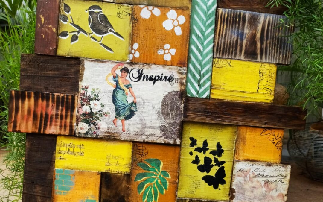Scrap wood block panel wall decor